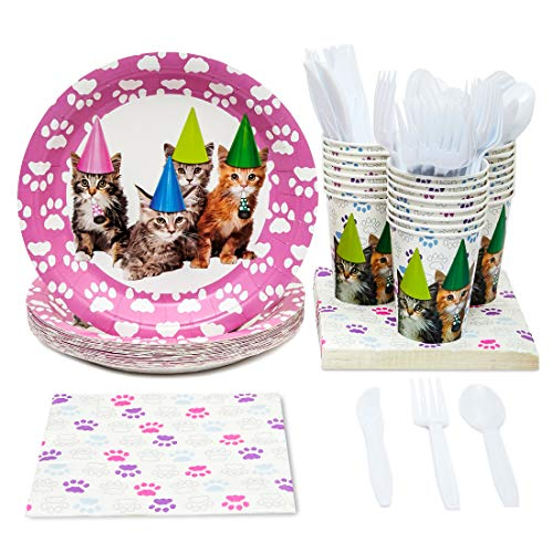 Juvale Kitten Party Supplies - Serves 24 - Includes Plates, Knives, Spoons, Forks, Cups and Napkins. Perfect Kitty Cat Birthday Party Pack for Kids Kitty Cat Themed Parties.]()
