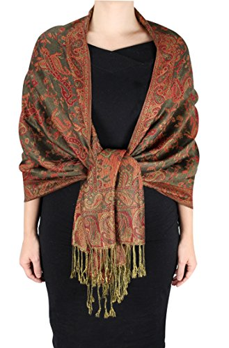 Peach Couture Elegant Double Layer Reversible Paisley Pashmina Shawl Wrap Scarf Olive
