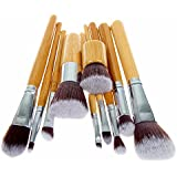 Unimeix 10 pcs Makeup Brush Set Powder Foundation blusher Cosmetic Bamboo Handle with a brush bag