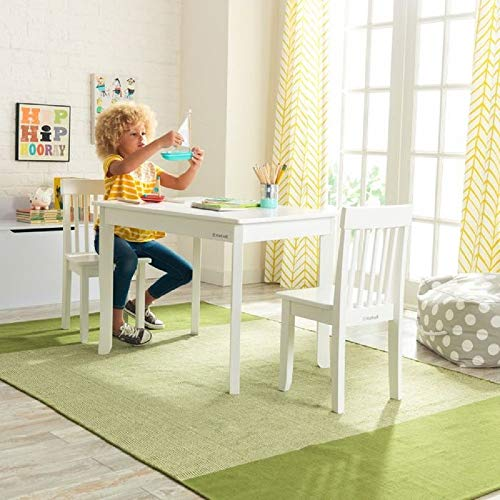 (KidKraft Avalon II 3 Piece Table and Chair Set in White)