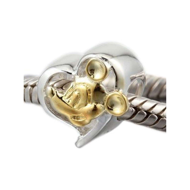 """Andante-Stones - Abalorio deplata de ley 925 y oro con la imagen de """"Mickey Mouse"""". Cuenta + bolsita de organza personalizable"""
