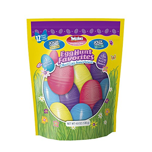 Hershey Egg Hunt Favorites, Egg Filled Assortments Easter Candy (JOLLY RANCHER Hard Candy, TWIZZLERS PULL 'N' PEEL STRAWBERRY BLAST Candy, JOLLY RANCHER Chews), 4.8 Ounce Bags (Pack of 3)