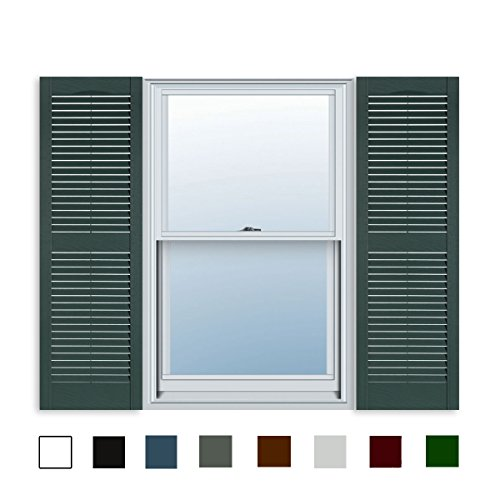 Green Heritage Kitchen - 15 Inch x 35 Inch Standard Louver Exterior Vinyl Window Shutters, Heritage Green (Pair)