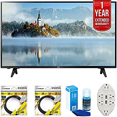 LG 43 inch Full HD 1080p LED TV 2017 Model (43LJ5000) with 2x 6ft High Speed HDMI Cable Black, Transformer Tap USB w/ 6-Outlet, Universal Screen Cleaner for LED TVs & CPS 1 Year Extended Warranty