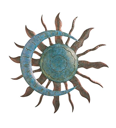 Plow & Hearth Celestial Sun and Moon Wall Art Sculpture - Painted Metal - Copper and Verdigris Finish - Indoor or Outdoor Display - 28 Dia. x 1.25 D (Plow Hearth Catalog)