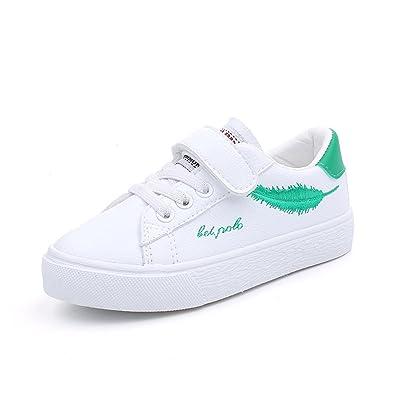 Qianliuk Kinder Trainer Kinder Velcro Flache Schuhe Leicht Atmungsaktive Mode Sportschuhe im Alter von 4-16 Jahre Alt lRZkU