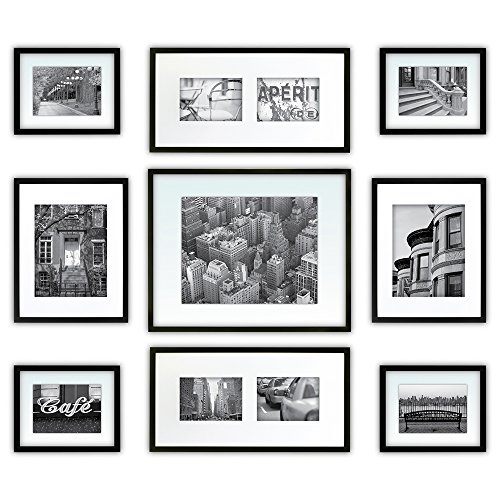 Photo Gallery Templates - Gallery Perfect 9 Piece Black Photo Frame Gallery Wall Kit with Decorative Art Prints & Hanging Template