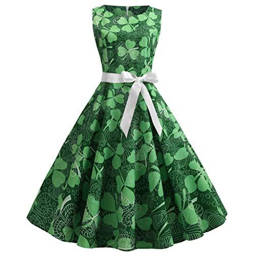 - St. Patrick'S Day Ladies Dress Women'S Vintage Clover Print Sleeveless Dresses Skirt-Roseberry