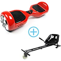 """Bluefin New 6.5"""" Classic Swegway Board Self Balancing Scooter with Built-in Bluetooth Speakers and Carry Bag (Red with Kart)"""