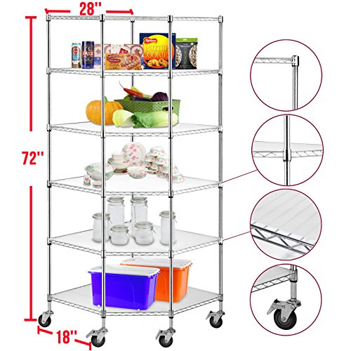 Gracelove 6-Tier Heavy Duty/Chrome Wire Shelving Rack Corner Unit Storage Adjustable Steel Shelf (Chrome) by Love+Grace