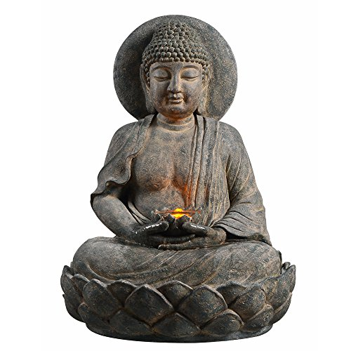 Peaktop 201607PT Outdoor Buddha Zen Fountain with LED Light, 28″, Gray