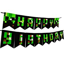 Minecraft Party Decoration Happy Birthday Banner For Gaming Boy Supplies Bunting