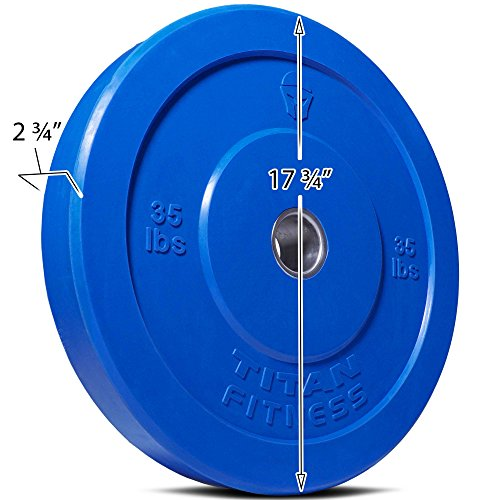 TITAN FITNESS 35 lb Olympic Bumper Plate Blue Benchpress Strength Training Power