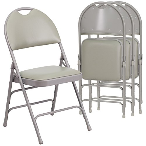 Flash Furniture 4 Pk. HERCULES Series Ultra-Premium Triple Braced Gray Vinyl Metal Folding Chair with Easy-Carry Handle by Flash Furniture (Image #1)