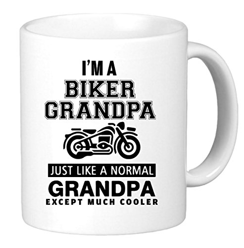 I'm Biker Grandpa. Just Like a Normal Grandpa Except Much Cooler. Black letters Funny Unique Harley Biker Inspired Novelty Coffee Mug Cup Motorcycle Birthday. Perfect gift for him