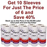 Perco 2 Line White Labels - 10 Sleeve, 60,000 Blank Pricing Labels for Perco 2 Line Price and Date Guns - Bonus Ink Roll