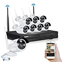 TMEZON Better Than 720P 8CH 960P HD WI-FI NVR Security Wireless Network System With 1.3MP Night Vision IP Surveillance Camera Kit CCTV Security System Smartphone Scan QR Code Quick View