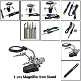 Toyofmine 4-in-1 Soldering Iron Kit with Adjustable Temperature Soldering Iron & Magnifier Iron Stand & Solder Sucker &5pcs Different Tips (1 pcs Magnifier Iron Stand)