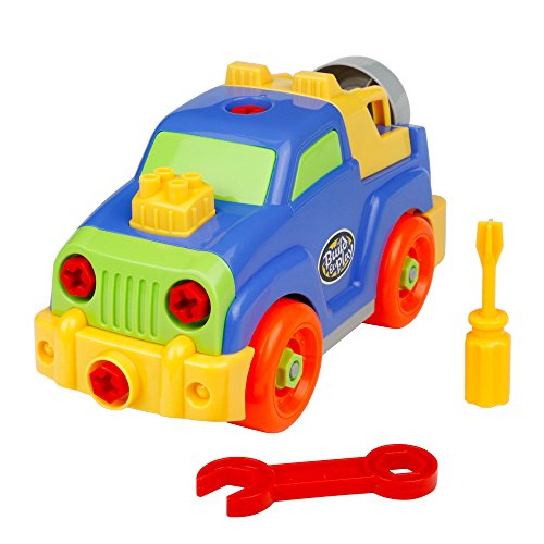 Take Apart Toys Jeep Toy Car Assembling Disassemble Toys Pull Along Trucks Construction Building Kit Set Vehicles Party Favors for Kids Boys Girls over 3 Years Old