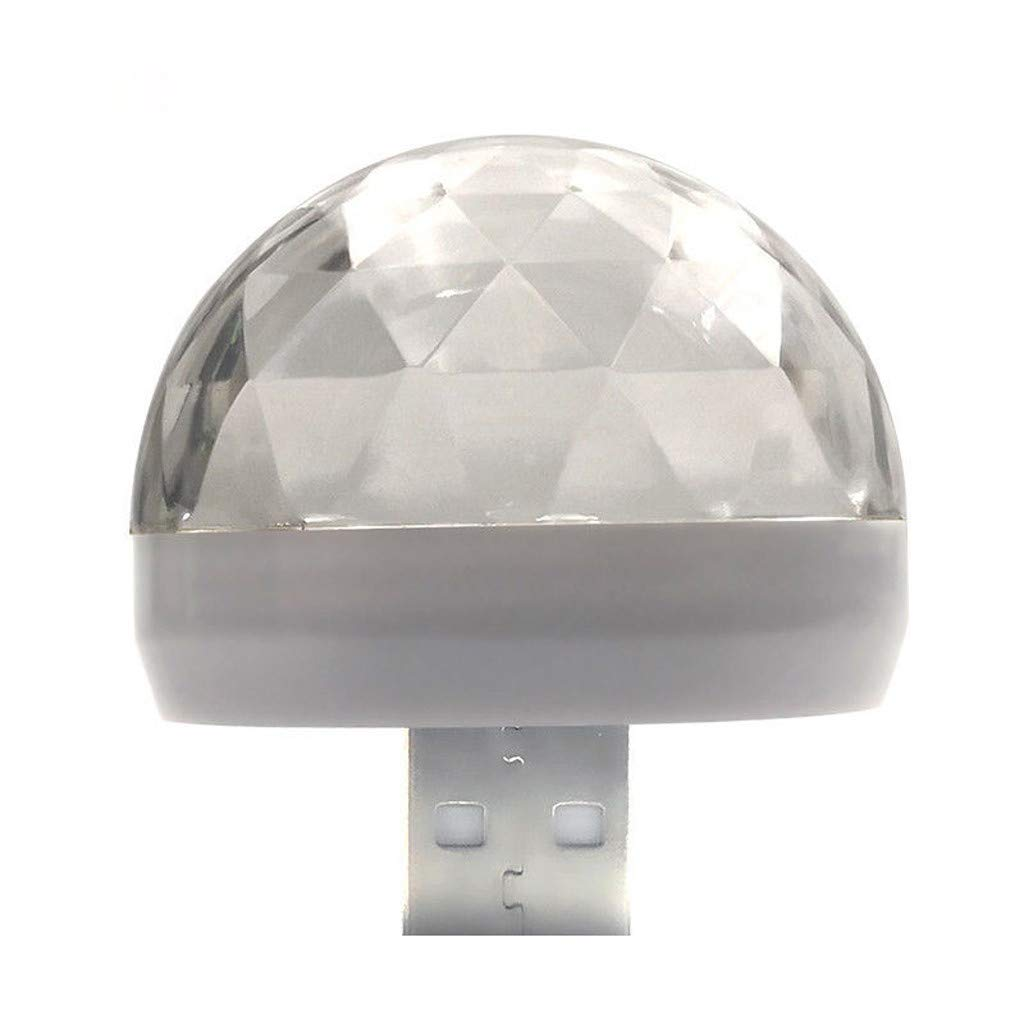 Disco Light,FTXJ USB Mini LED Night Light Color Changed by Sound Music Magic Lights LED Mushroom (White, Type-C)