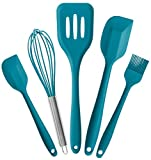 StarPack Basics Range Silicone Kitchen Utensils Set (5 Piece) in FDA Grade with Hygienic Solid Coating + Bonus 101 Cooking Tips (Teal Blue)