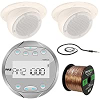 Pyle AM / FM USB AUX Gauge Style Waterproof Bluetooth Silver Receiver, 2x Magnadyne 3 Tan Ceiling Mount Satellite Speaker, Enrock Antenna - 22 Braided Cable, 16-Gauge 50 Foot Speaker Wire
