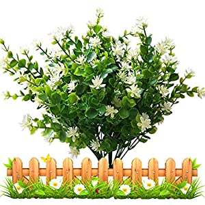 LUCKY SNAIL Artificial Flowers, Fake Outdoor UV Resistant Boxwood Shrubs Plants, Lifelike Plastic Flowers for Indoor Outdoors Home Office Garden Wedding Sidewalk Trim Decor, 4 Pcs(White) 55
