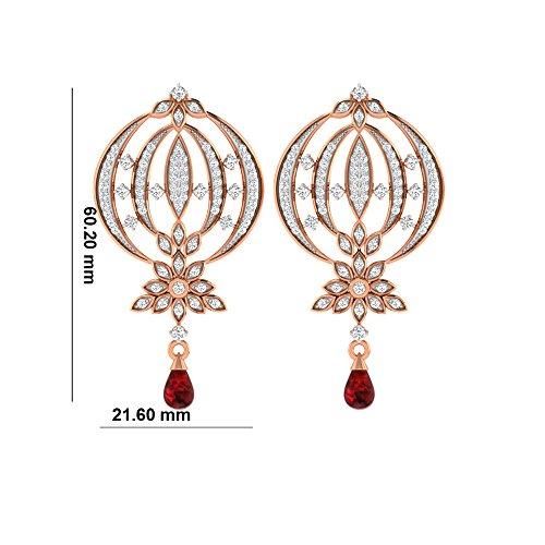 Libertini Boucle d'oreille argent 925 plaque or Rose serti de Diamant et Rubis