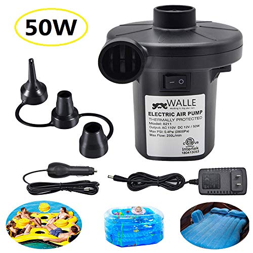WALLE Electric Air Pump for Inflatables, Portable Quick Air Pump with 3 Nozzles for Air Mattresses Beds Boats Swimming Ring Inflatable Pool Toys 110 V AC/12V DC (50W)