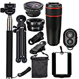 Andoer 10PCS 12X Telephoto Universal Mobile Phone Lens Kits Wide Angle + Fish Eye + Macro Lens + Selfie Stick + Tripod for iPhone /Samsung /Huawei /iPad