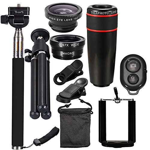 Andoer 10PCS 12X Telephoto Universal Mobile Phone Lens Kits Wide Angle + Fish Eye + Macro Lens + Selfie Stick + Tripod for iPhone /Samsung /Huawei /iPad by Andoer