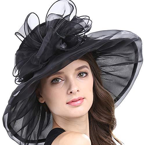 Original One Women Kentucky Derby Ascot Girls Tea Party Dress Church Lace Hats (Black)