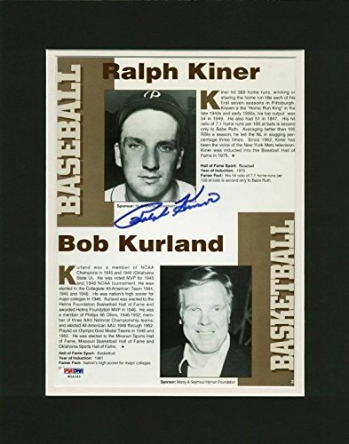 Autographed Ralph Kiner Photograph - & Matted Magazine Page #W24243 - PSA/DNA Certified - Autographed MLB Photos