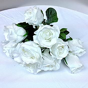artificial flowers silk fake assorted white roses arrangements wedding party hotel event christmas gift craft decoration home decor 2 bouquet - Silk Arrangements For Home Decor 2