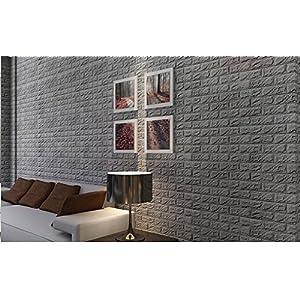 3D Brick Wall Stickers, Hmlai PE Foam 3D Wallpaper DIY Wall Sticker Self Adhesive Wallpaper Wall Decor Embossed Brick Stone … (60 X 60 X 0.8cm, Gray)