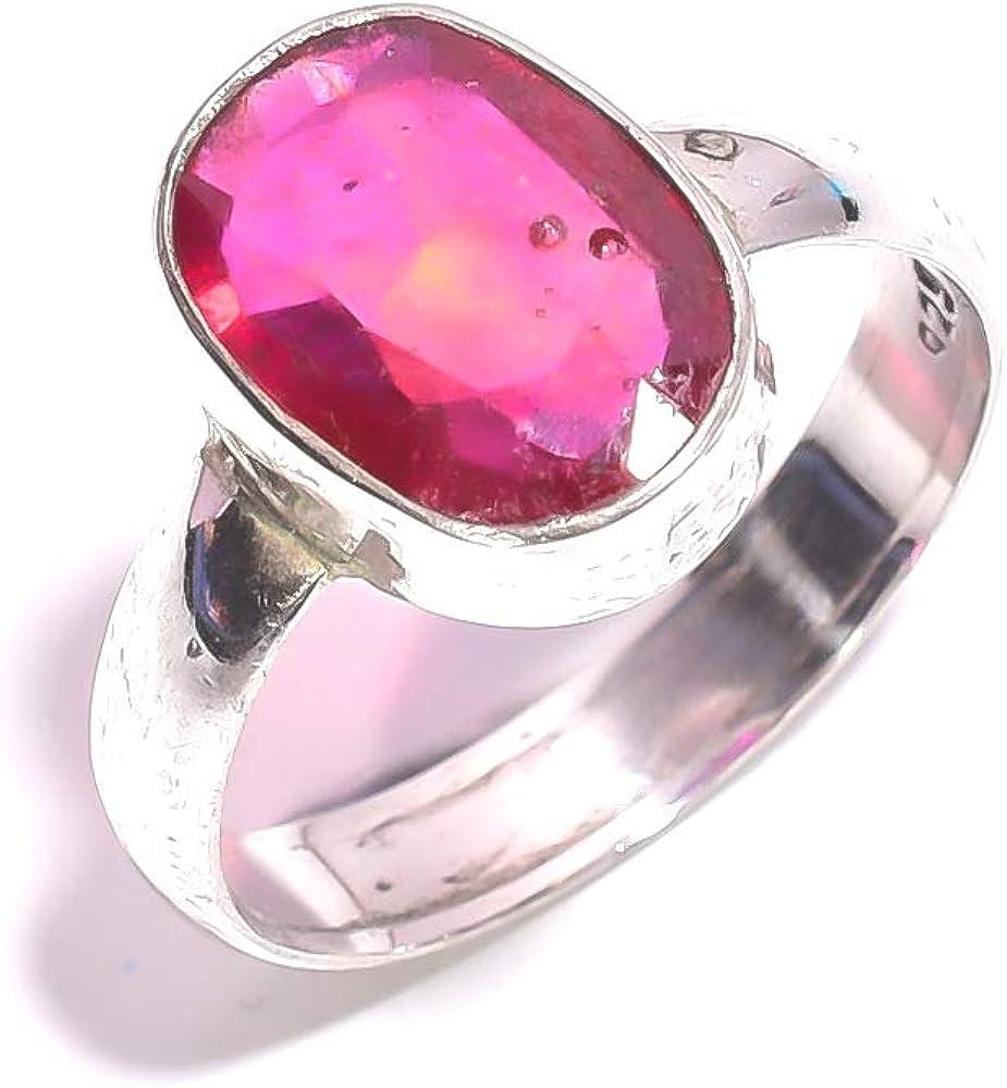 mughal gems & jewellery Anillo de Plata esterlina 925 Anillo de joyería Fina de Piedras Preciosas de rubí Natural para Mujeres (Tamaño 8 U.S)