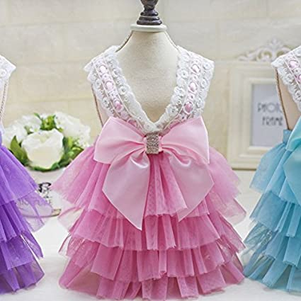 75c2ef39415b93 leyunstore US Pet Clothing Puppy Dog Lace Skirt Princess Tutu Dress Summer  Clothes Apparel (M