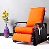 Outdoor Wicker Recliner Chair with 5.12'' thickness Cushions, Automatic Adjustable Rattan Patio Chaise Lounge Chairs, Aluminum Frame, UV Resistant and Rustless (Brown Wicker + Orange Cushion)