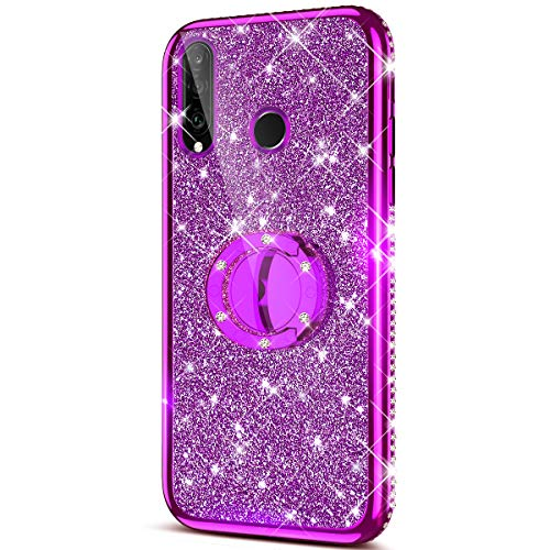 Price comparison product image Case for Huawei P30 Lite Glitter Case, Sparkly Glitter Bling Diamond Rhinestone Bumper with Ring Kickstand Flexible Soft Rubber TPU Protective Case Cover for Huawei P30 Lite Case for Girl Women, Purple
