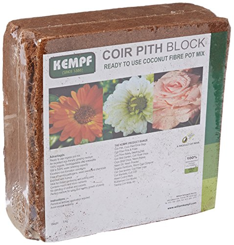 513To44LI2L Kempf Compressed Coco Fiber Growing Potting Mix 10-Pound Block, Medium