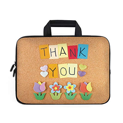 Thank You Decor Laptop Carrying Bag Sleeve,Neoprene Sleeve Case/Gratitude Themed Quote on Little Hanging Papers Post It with Flowers Print/for Apple Macbook Air Samsung Google Acer HP DELL Lenovo Asus
