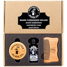 DUCKBUTTER Beard Oil Deluxe Gift Set - Beard Commander with Boar Brush & Comb