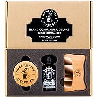 Set regalo Olio da barba Deluxe - Beard Commander con spazzola di cinghiale e pettine