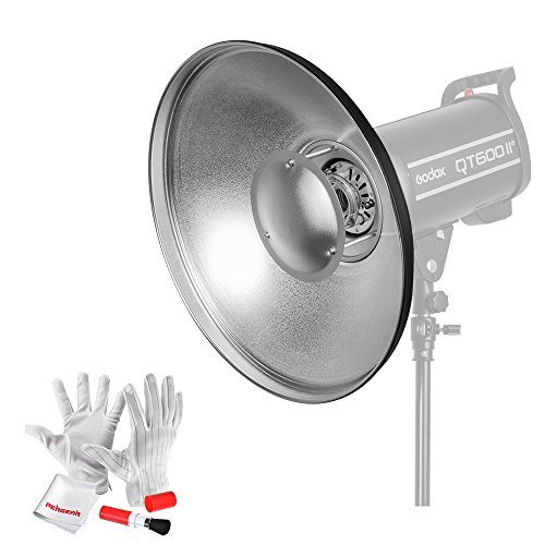 Godox 16 Inch Bowens Mount Beauty Dish Reflector with Pergear Clean Kit for Bowens Mount Studio Flash Strobe Monolight Such As Godox Witstro AD600 AD600M QT-600IIM QT-400IIM by Godox