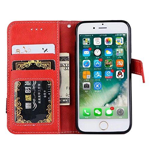 Hülle für iPhone 7 ,Schutzhülle Für IPhone 7 Bookstyle Horizontale Flip Stand Case Litchi Texture Dual Farbe genäht PU Ledertasche Cover mit Lanyard & Niet Button ,cover für apple iPhone 7,case for ip