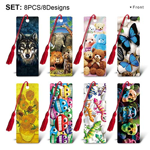 CEIEC3D 3D Lenticular Tassel Bookmarks with 5.5 inch Ruler for Kids Students Women Men Gift Set of 8 for any Ages I series]()