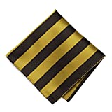 TieMart Brown and Gold Striped Pocket Square
