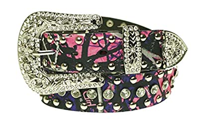 Muddy Girl Pink Camo Belt - Women's Western Cowgirl Rhinestone Studded Bling Belt with Buckle (XX-Large, Muddy Girl)