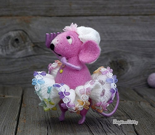 Pink Mouse with comb, Soft doll, Needle felting, Knitted animal, Waldorf, Figurine, Home Nursery decoration, Gift, NeighborKitty, Wool rat by NeighborKitty