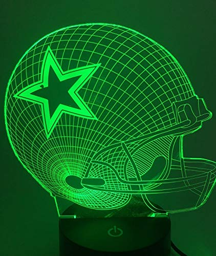 Nfl Logo Edge Light - Threetoo Visual Creative Amazing 7 Colors Optical Illusion 3D Glow LED Lighting Nightlight Room Decor Table Lamps (Helmet) Dallas Cowboys